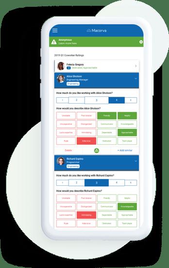 Macorva's equitable 360 feedback workflow