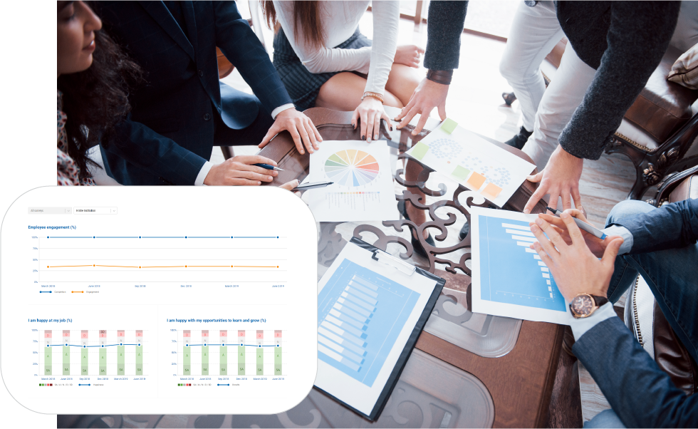 Employee surveys with benchmarking, automated reports, and real-time results